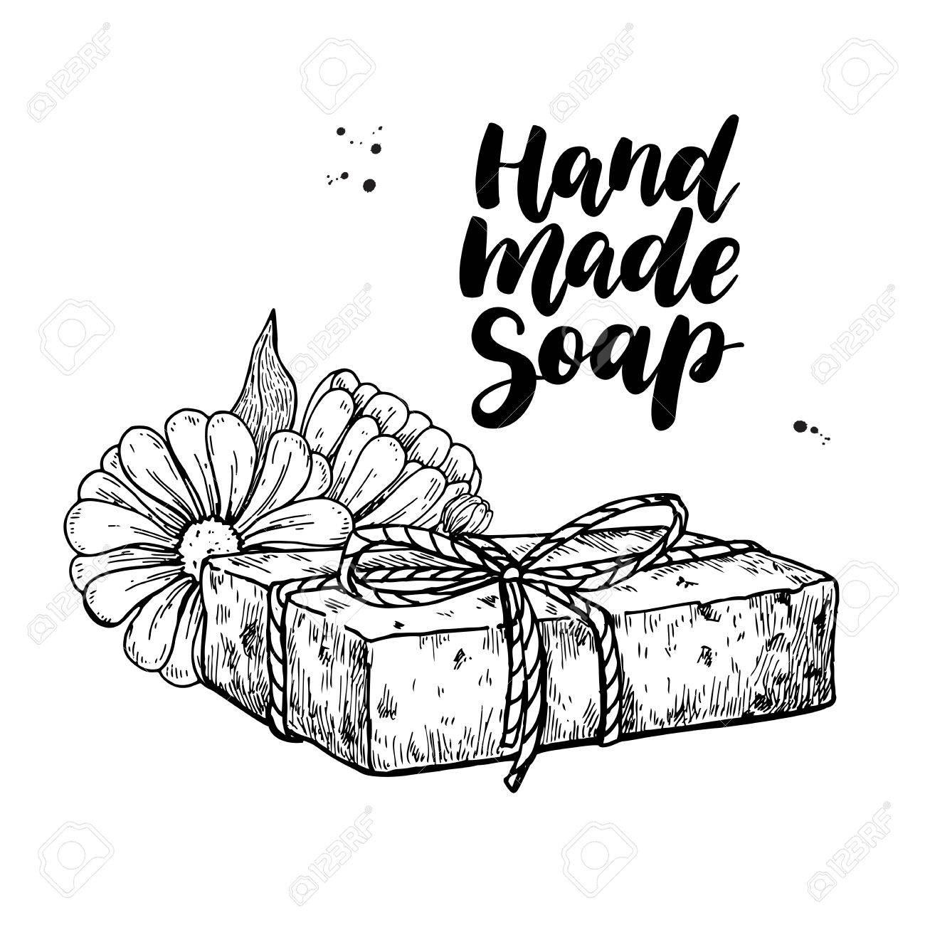 1300x1300 Handmade Natural Soap. Vector Hand Drawn Illustration Of Organic