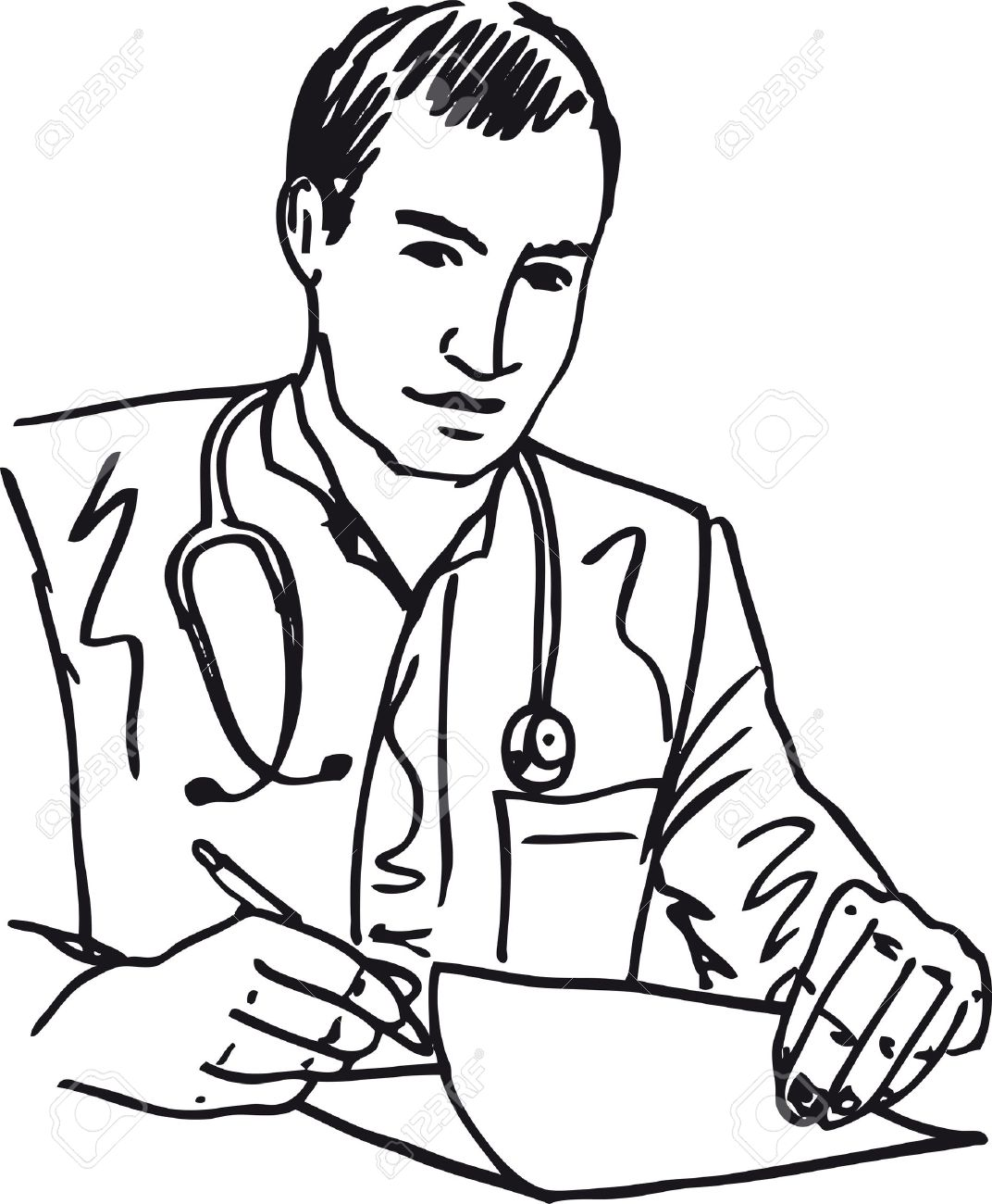 1072x1300 Sketch Of Medical Doctor With Stethoscope Sitting At A Desk