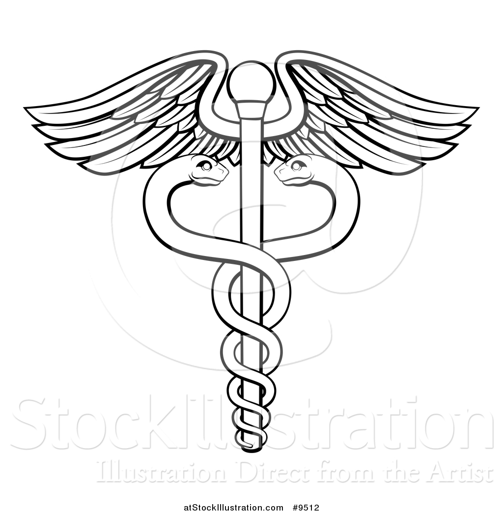 1024x1044 Vector Illustration Of A Black And White Lineart Medical Caduceus