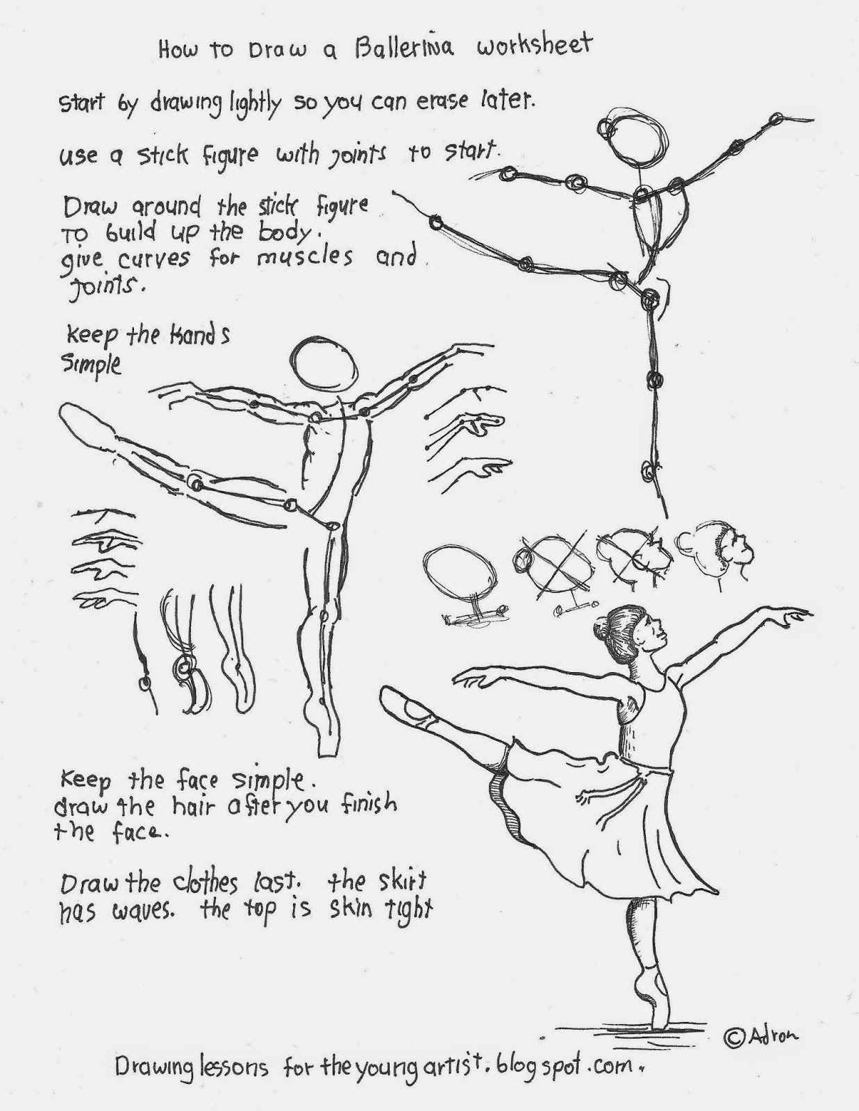 1237x1600 How To Draw A Ballerina On One Toe Worksheet. Free Printable