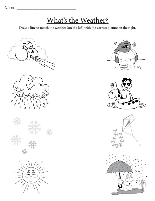 541x700 What's The Weather Free Printable Matching Worksheet