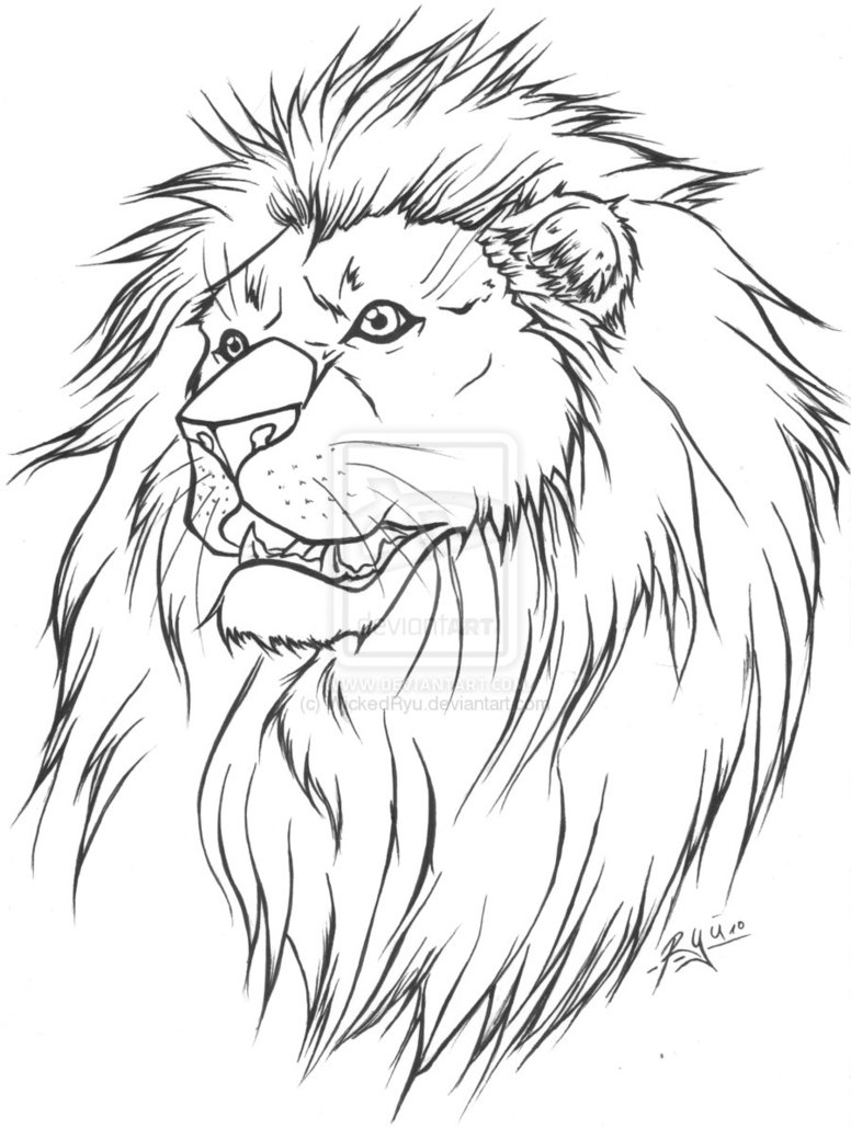 776x1029 Free Line Art Lion Tattoo Lineart Version By Wickedryu