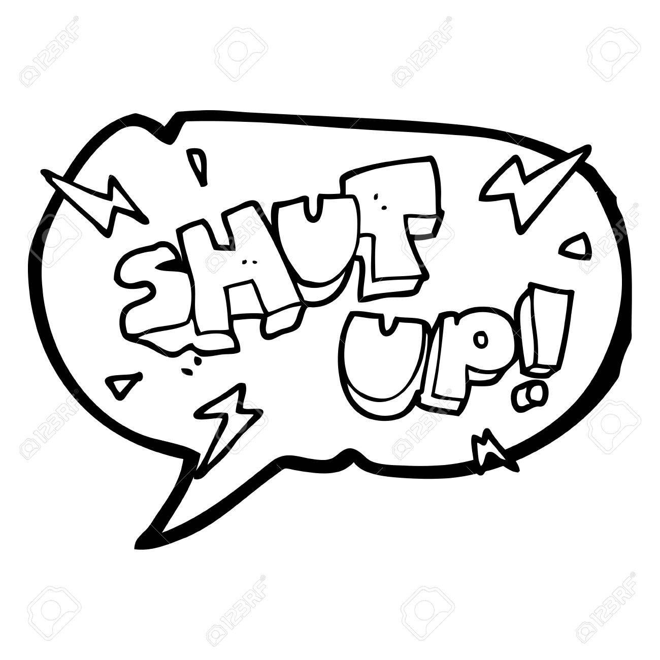 1300x1300 Freehand Drawn Speech Bubble Cartoon Shut Up! Symbol Royalty Free