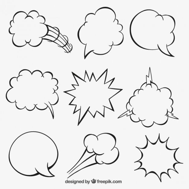 626x626 Sketchy Cartoon Speech Bubbles Vector Free Download