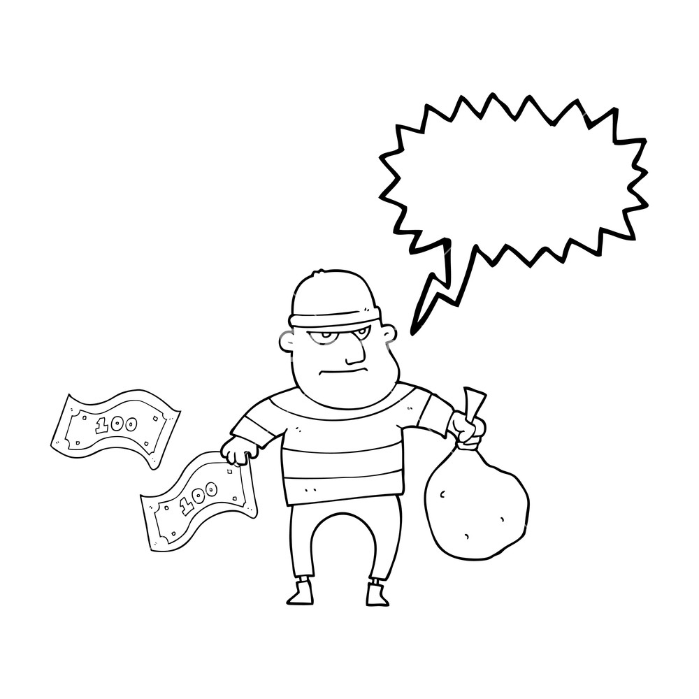 1000x1000 Freehand Drawn Speech Bubble Cartoon Bank Robber Royalty Free