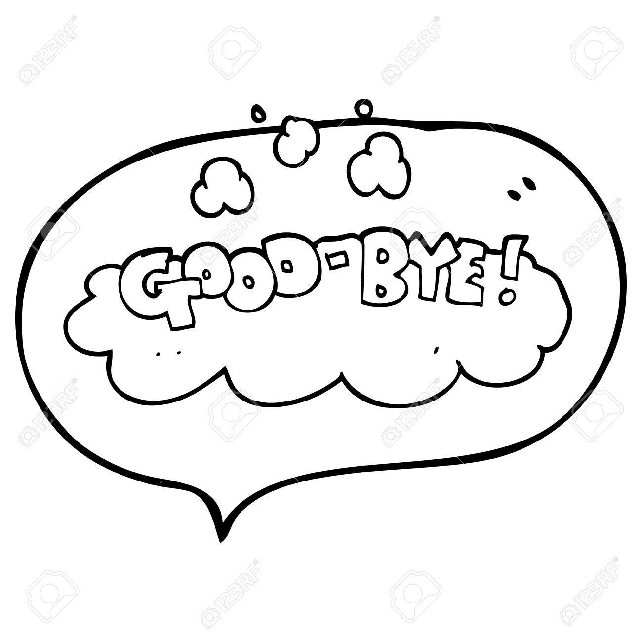 1300x1300 Freehand Drawn Speech Bubble Cartoon Good Bye Symbol Royalty Free