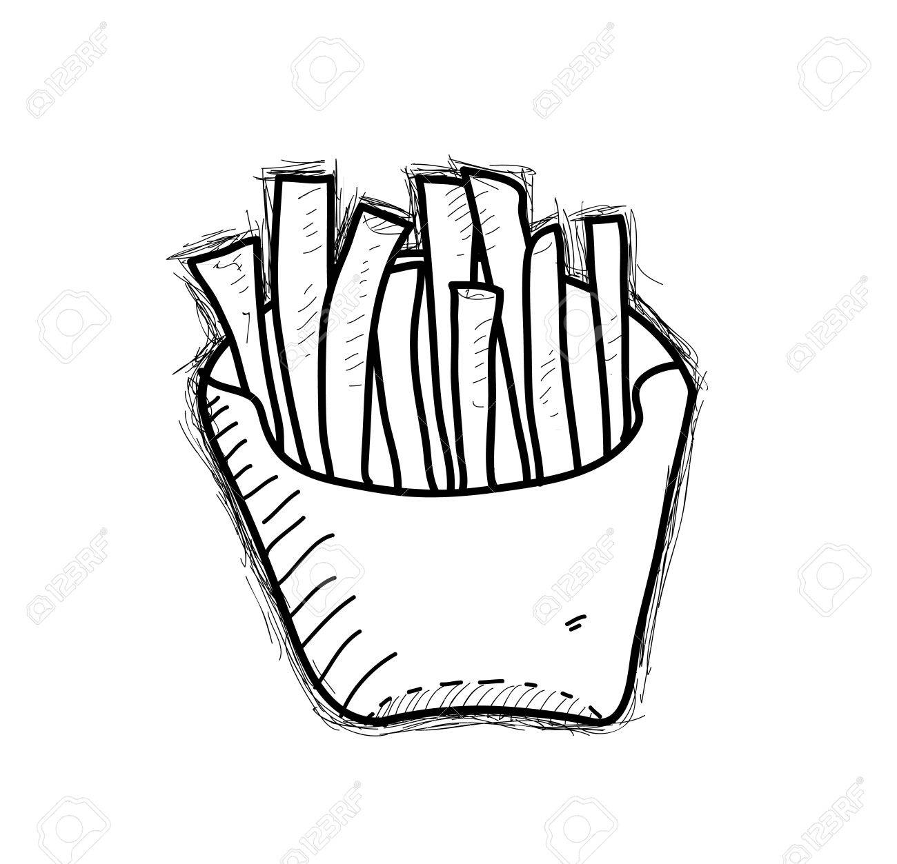 1300x1253 French Fries Doodle, A Hand Drawn Vector Doodle Illustration