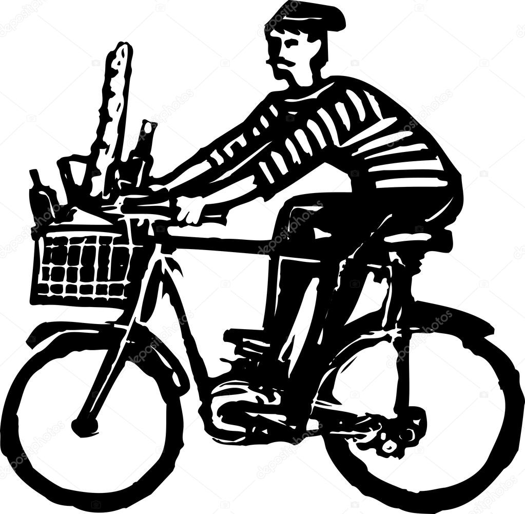 1023x1001 French Man Riding Bicycle With French Bread And Wine Stock