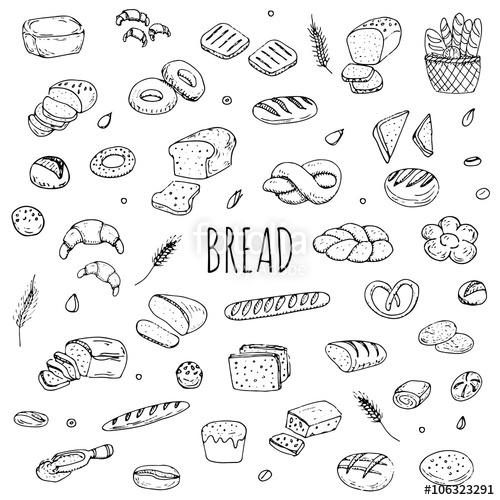500x500 Hand Drawn Doodle Set Of Cartoon Food Rye Bread, Ciabatta, Whole