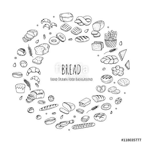 500x500 Hand Drawn Doodles Of Cartoon Food Rye Bread, Ciabatta, Whole