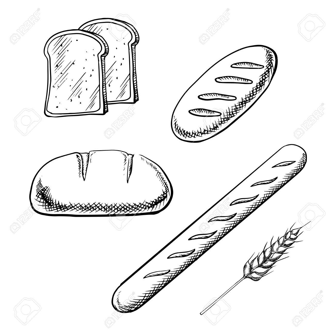 1300x1300 Toast Bread Slices, Long Loaves And French Baguette With Wheat