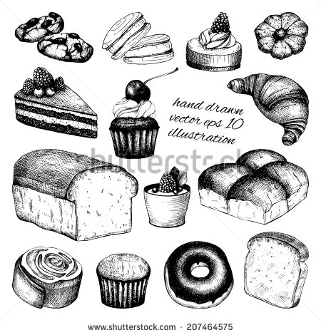 450x470 Vector Collection Of Black Ink Hand Drawn Breads And Pastries