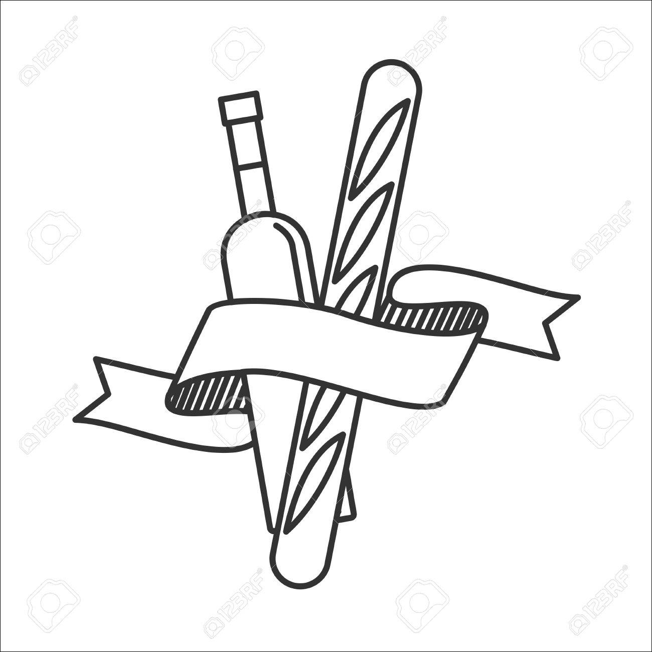 1300x1300 Wine Bottlend French Baguette. Vector Icon. Isolated On