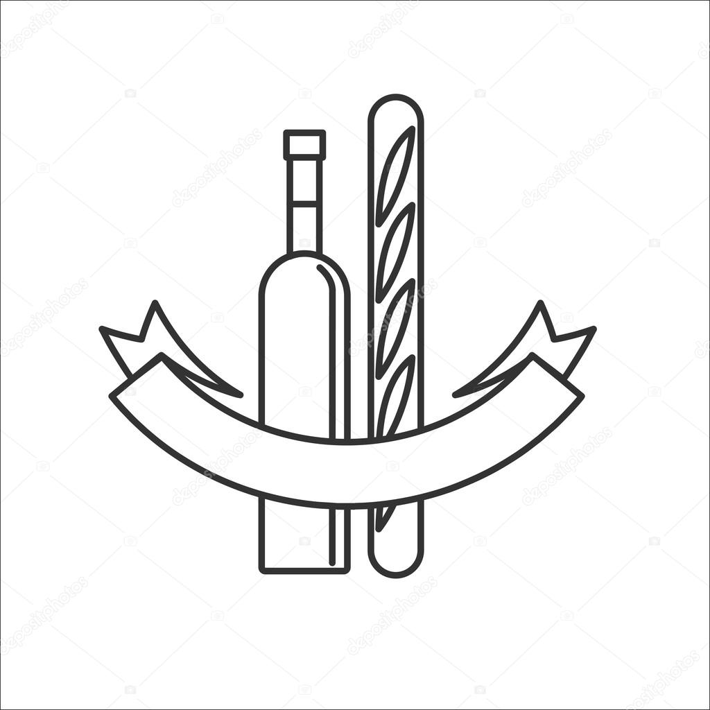1024x1024 Wine Bottle And A French Baguette.isolated On A White Background