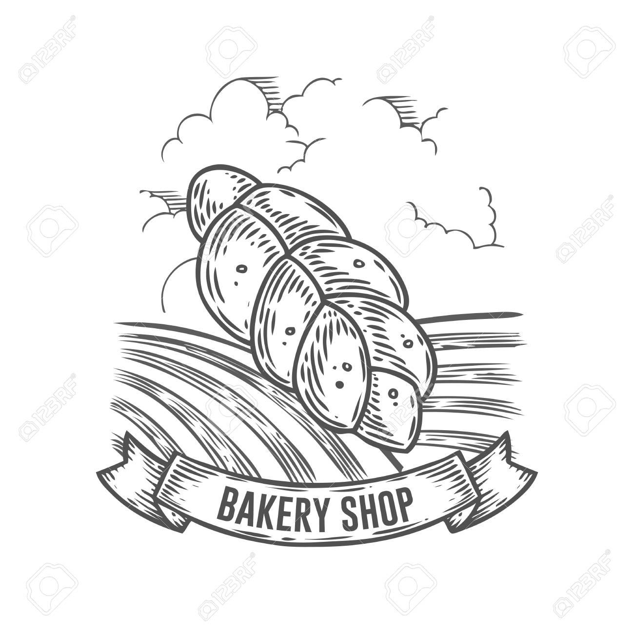 1300x1300 Bakery Shop Bread Badge. Monochrome Vintage Engraved Bun, Gluten