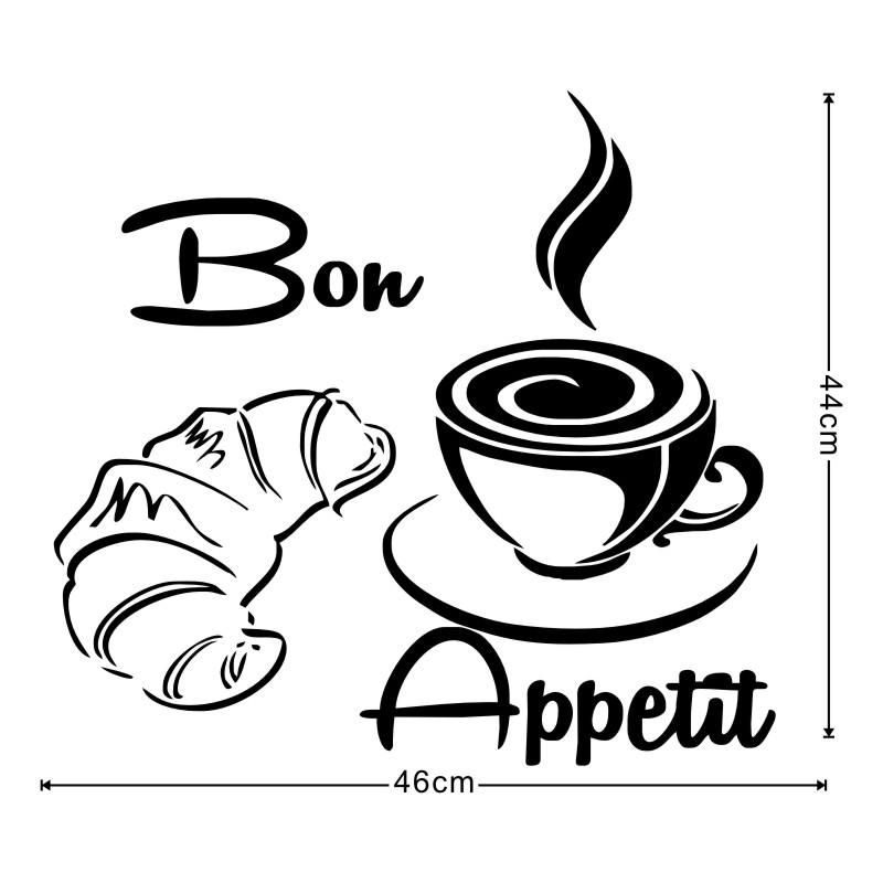 800x800 Bon Appetit French Bread Coffee Food Vinyl Removable Wall Stickers