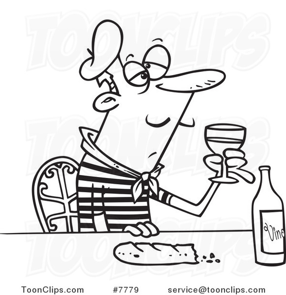 581x600 Cartoon Black White Line Drawing Of A French Guy With Wine