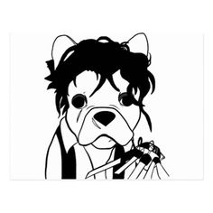 236x236 Black French Bulldog Drawing Postcard Black French Bulldogs