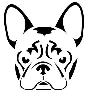 285x300 Custom Vinyl Car Decal French Bulldog Frenchie Face Head Sticker