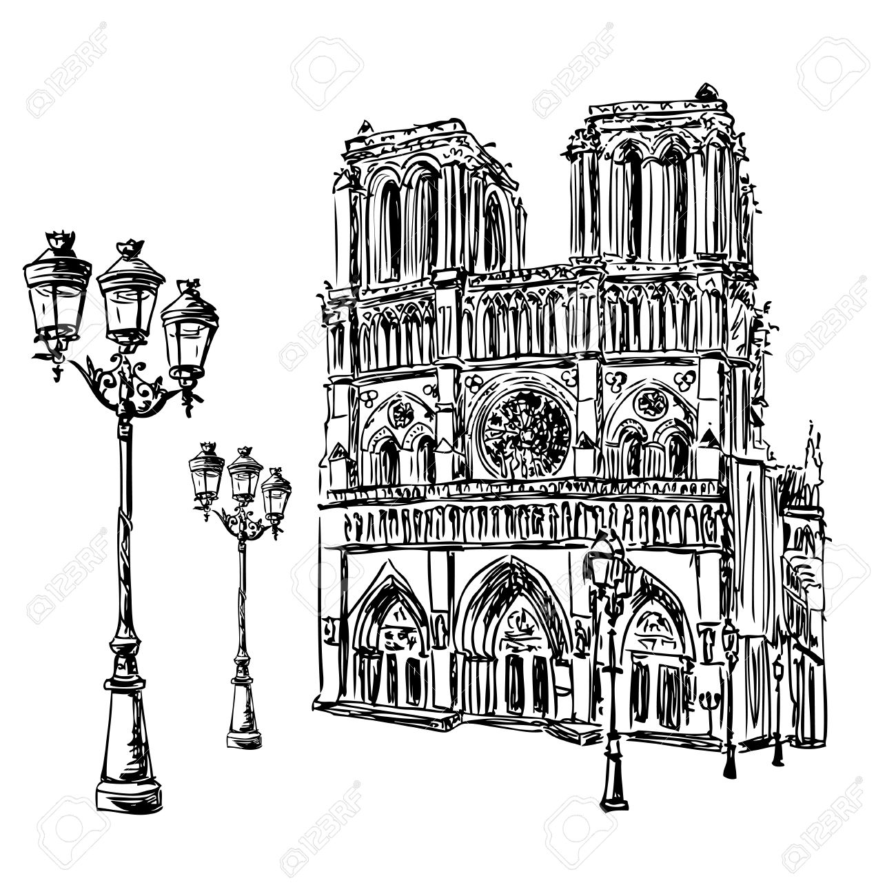 1300x1300 Notre Dame De Paris Cathedral And Lantern, France. Hand Drawing