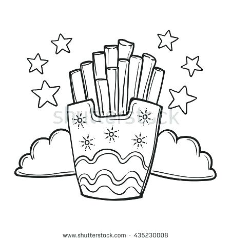 450x470 French Fries Coloring Page French Fries Coloring Page French Fries