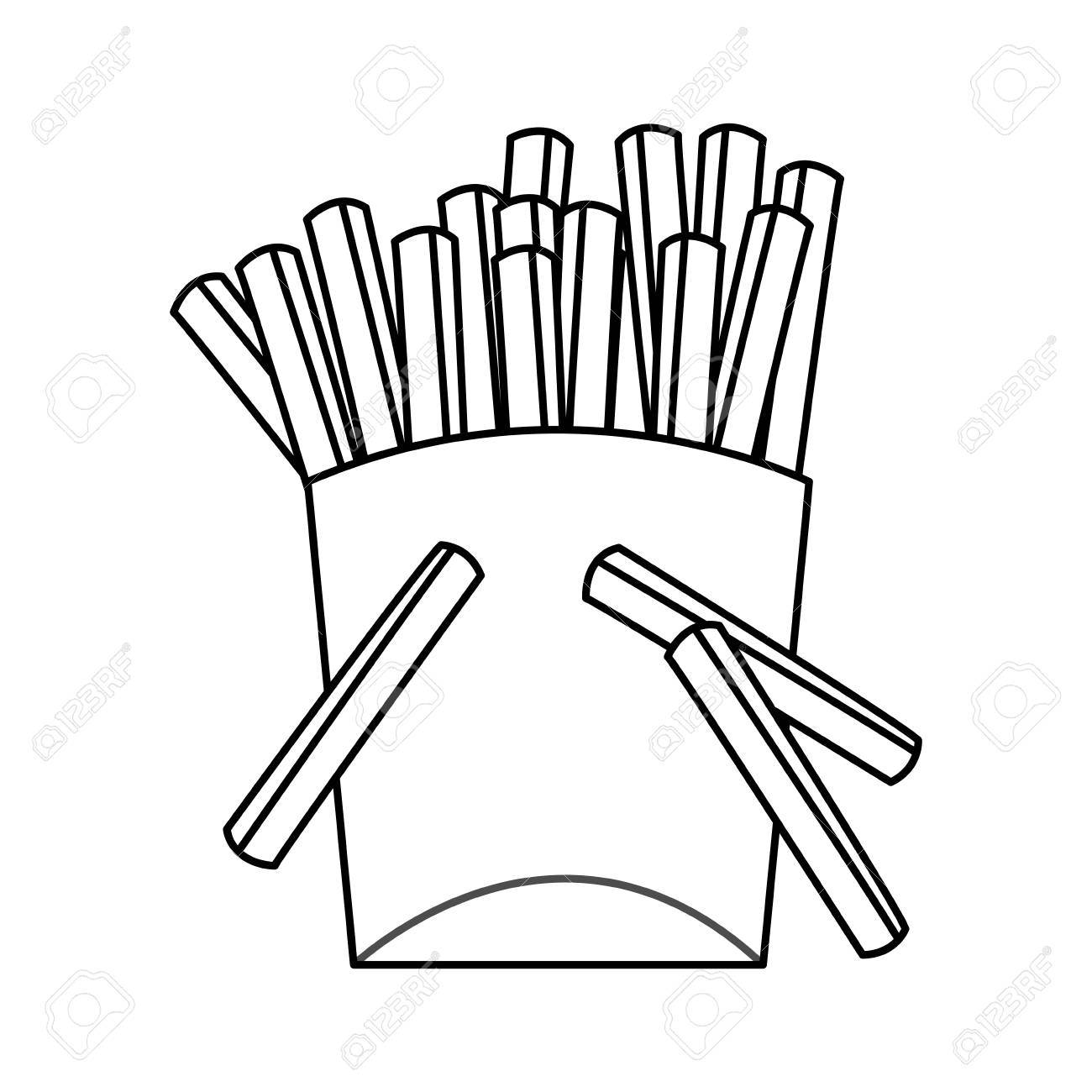 1300x1300 French Fries Fast Food Icon Image Vector Illustration Design