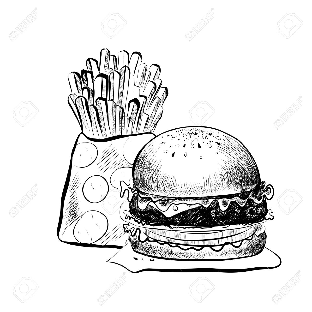 1300x1300 Big Hamburger Or Cheeseburgernd French Fries. Isolated On