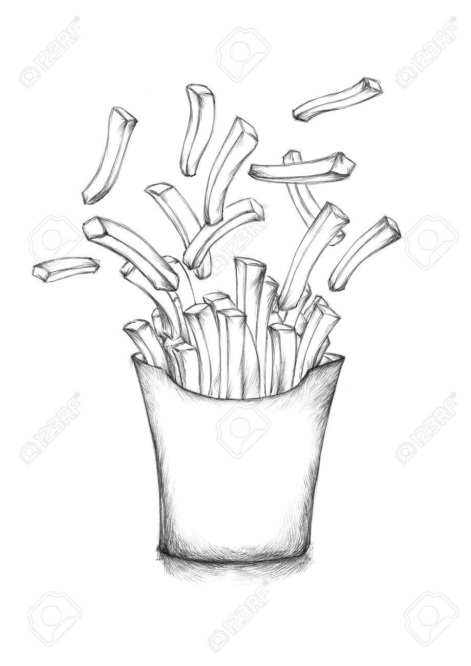 919x1300 Illustration Of Some Flying French Fries With A Box Stock Photo