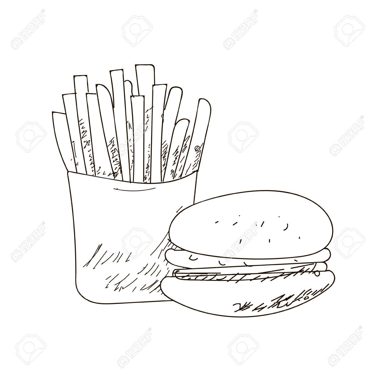 1300x1300 Set Of Fastfood Hand Drawn Vector Outline Drawings On White