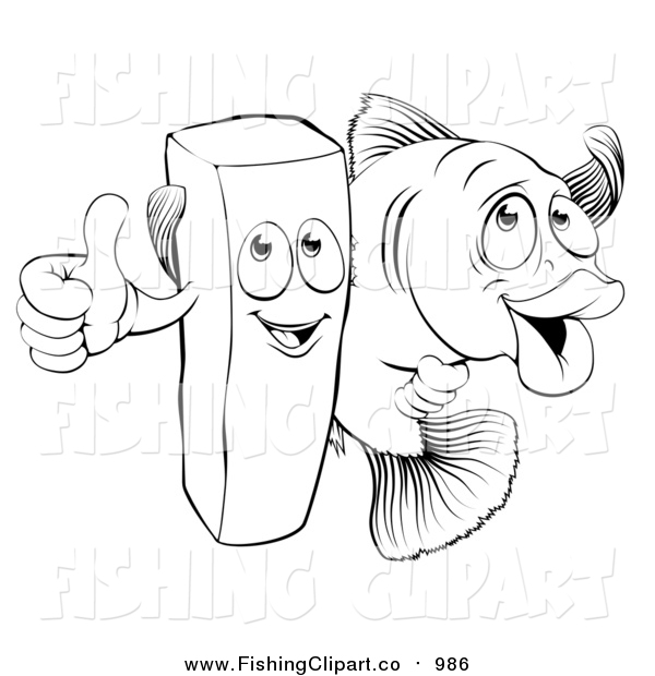 600x620 Clip Art Of A Lineart Happy French Fry Chip And Fish By