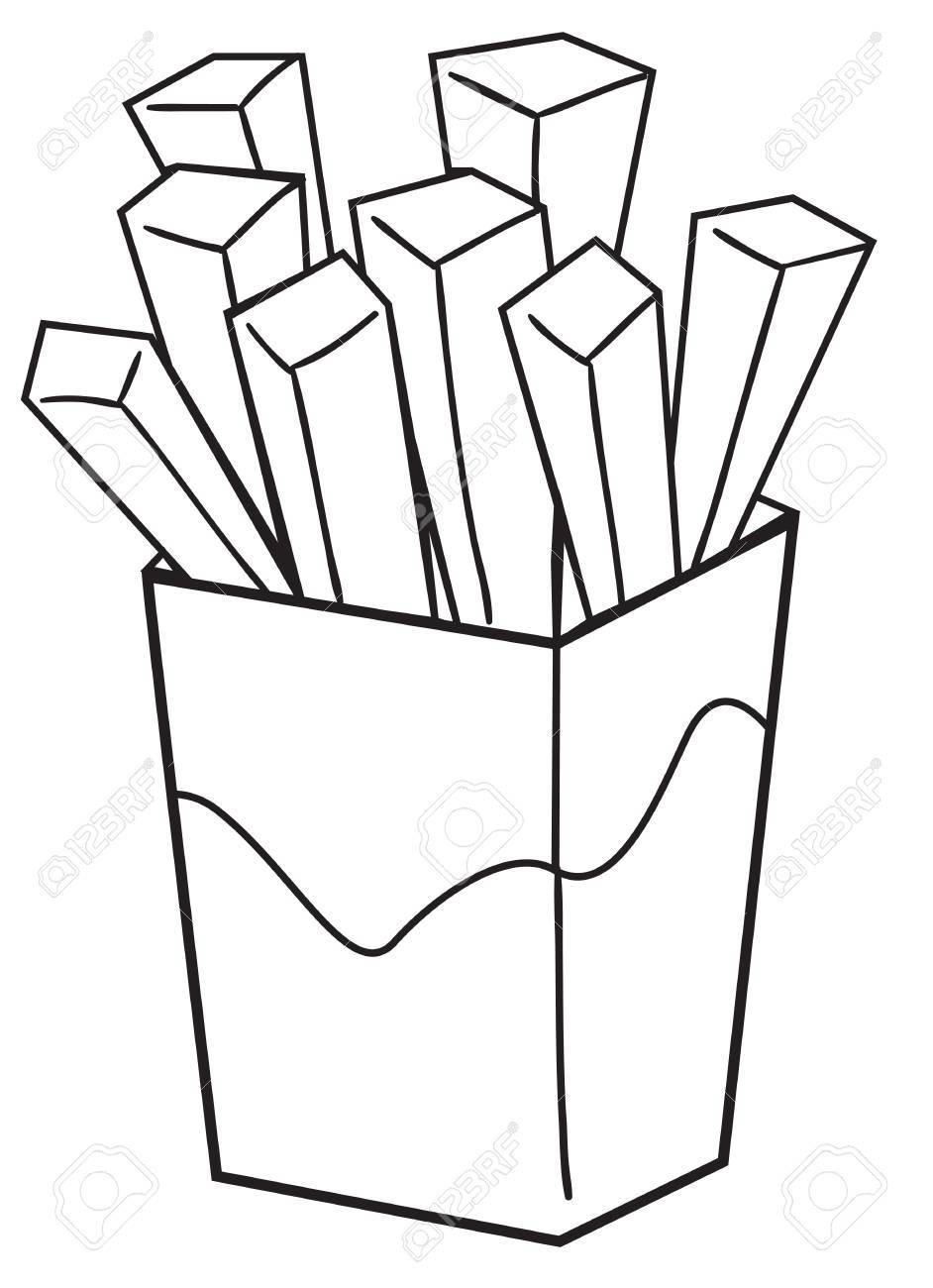 942x1300 Vector Illustration Of A French Fries In Black And White Outlined