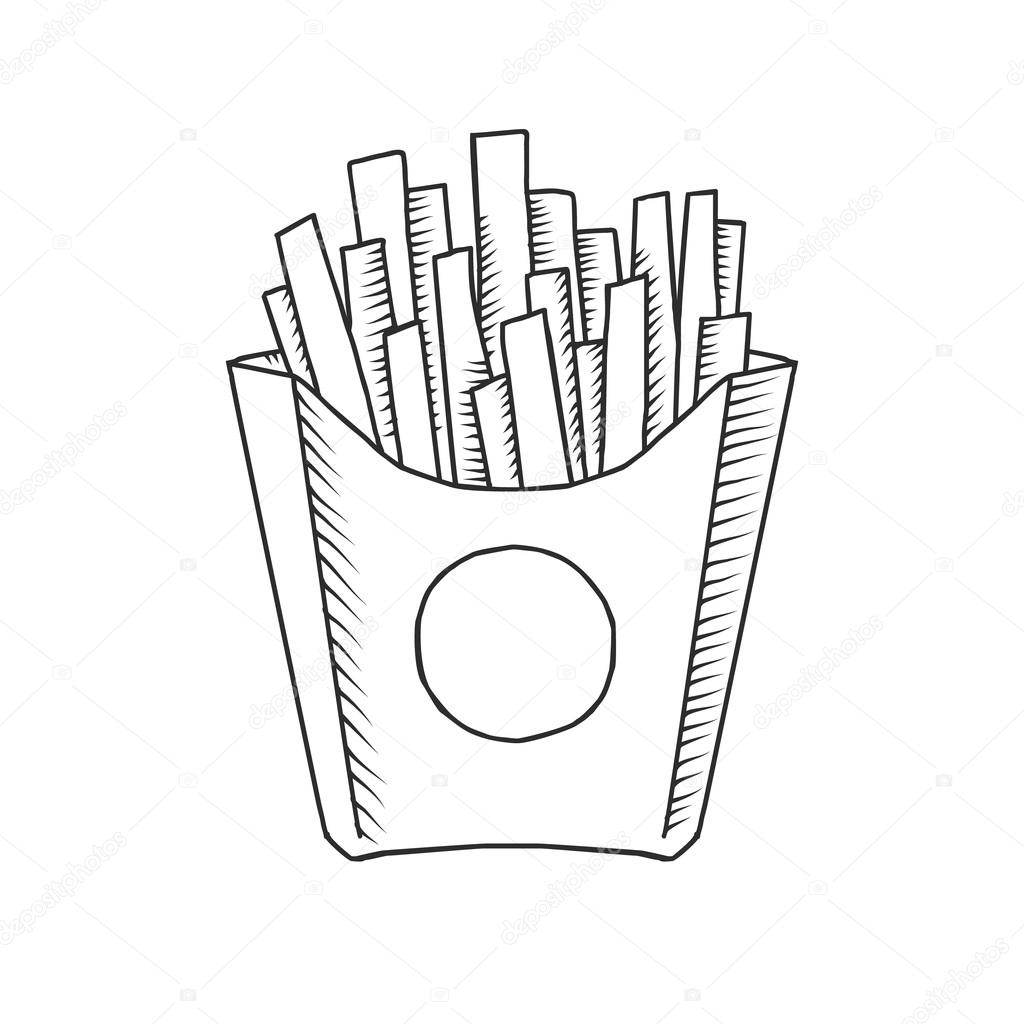 1024x1024 Vector Illustration Of An Isolated Cartoon Hand Drawn French Fries