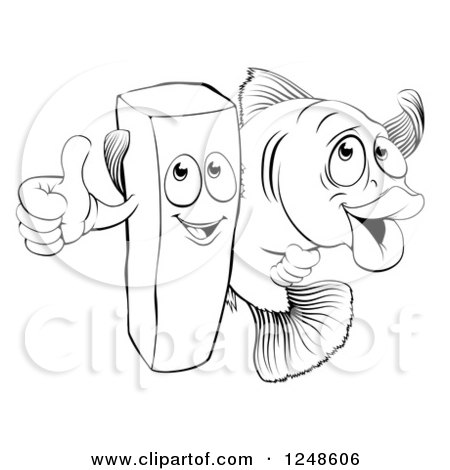 450x470 Clipart Of A Black And White Happy French Fry Chip And Fish