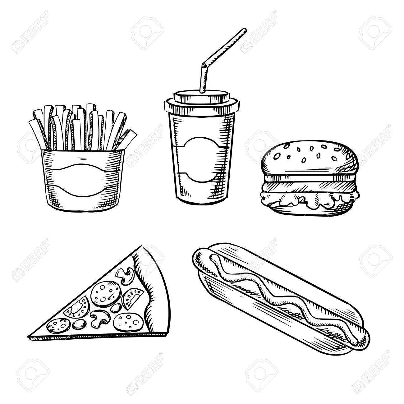 1300x1300 Fast Food Sketches With Hamburger, Slice Of Pizza, French Fries