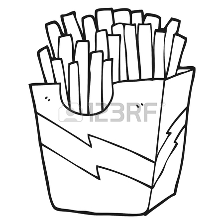 450x450 Freehand Drawn Black And White Cartoon French Fries Royalty Free