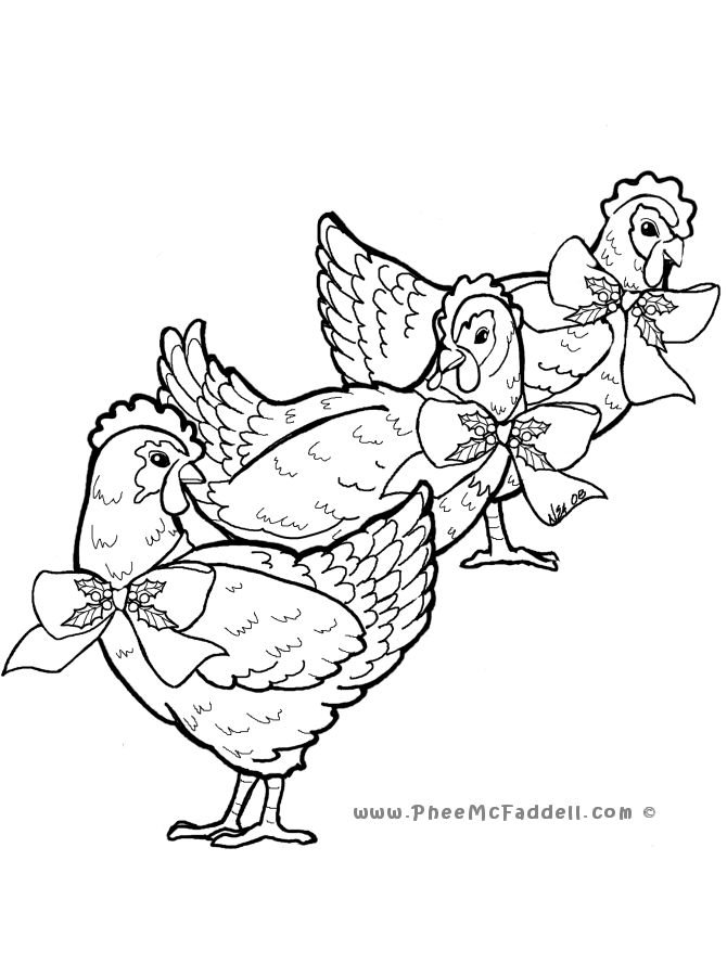 670x900 Three French Hens Coloring Page