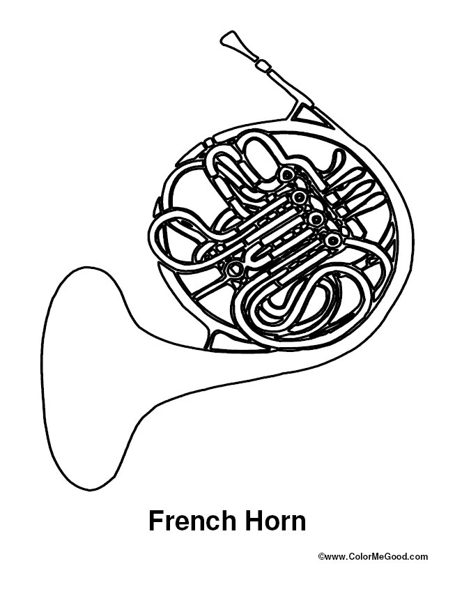 653x845 French Horn Coloring Pages