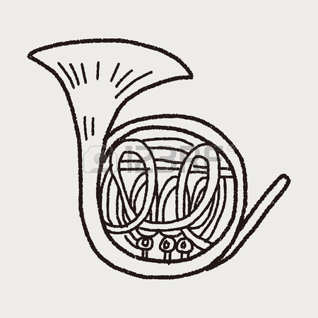 450x450 French Horn Doodle Royalty Free Cliparts, Vectors, And Stock