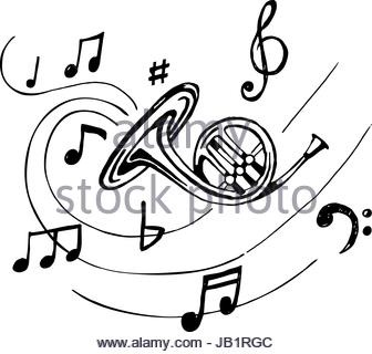336x320 Hand Drawn Musical French Horn. Sketch Vintage Trumpet. Vector