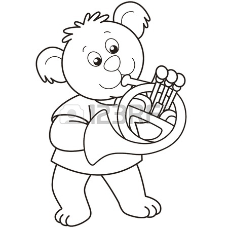 450x450 Cartoon Bear Playing A French Horn.black And White Royalty Free