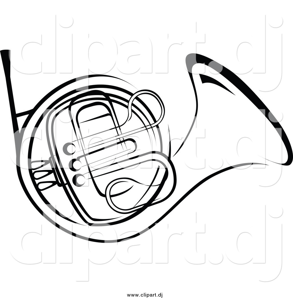 1024x1044 Vector Clipart Of A Black And White French Horn By Vector