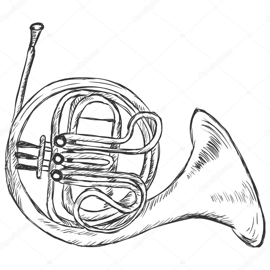 French Horn Drawing at GetDrawings.com | Free for personal use ...