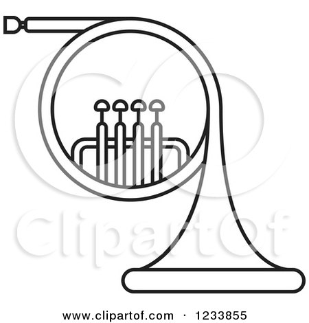 450x470 Clipart Of A Black And White French Horn