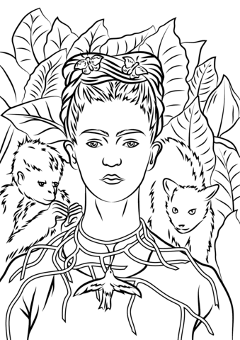 frida kahlo coloring pages | Frida Kahlo Drawing at GetDrawings.com | Free for personal ...