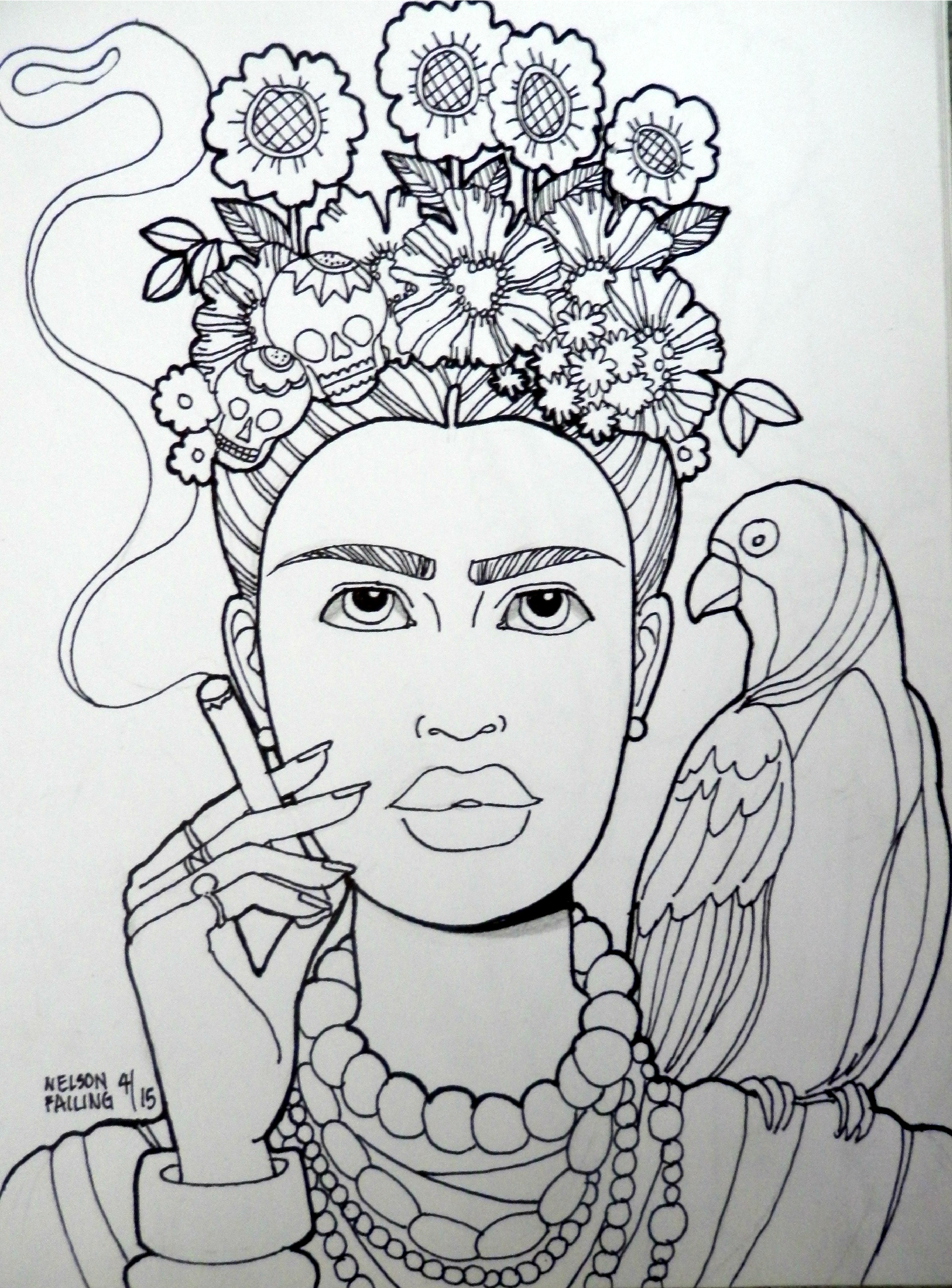 Frida Kahlo Drawing at GetDrawings.com | Free for personal use Frida ...