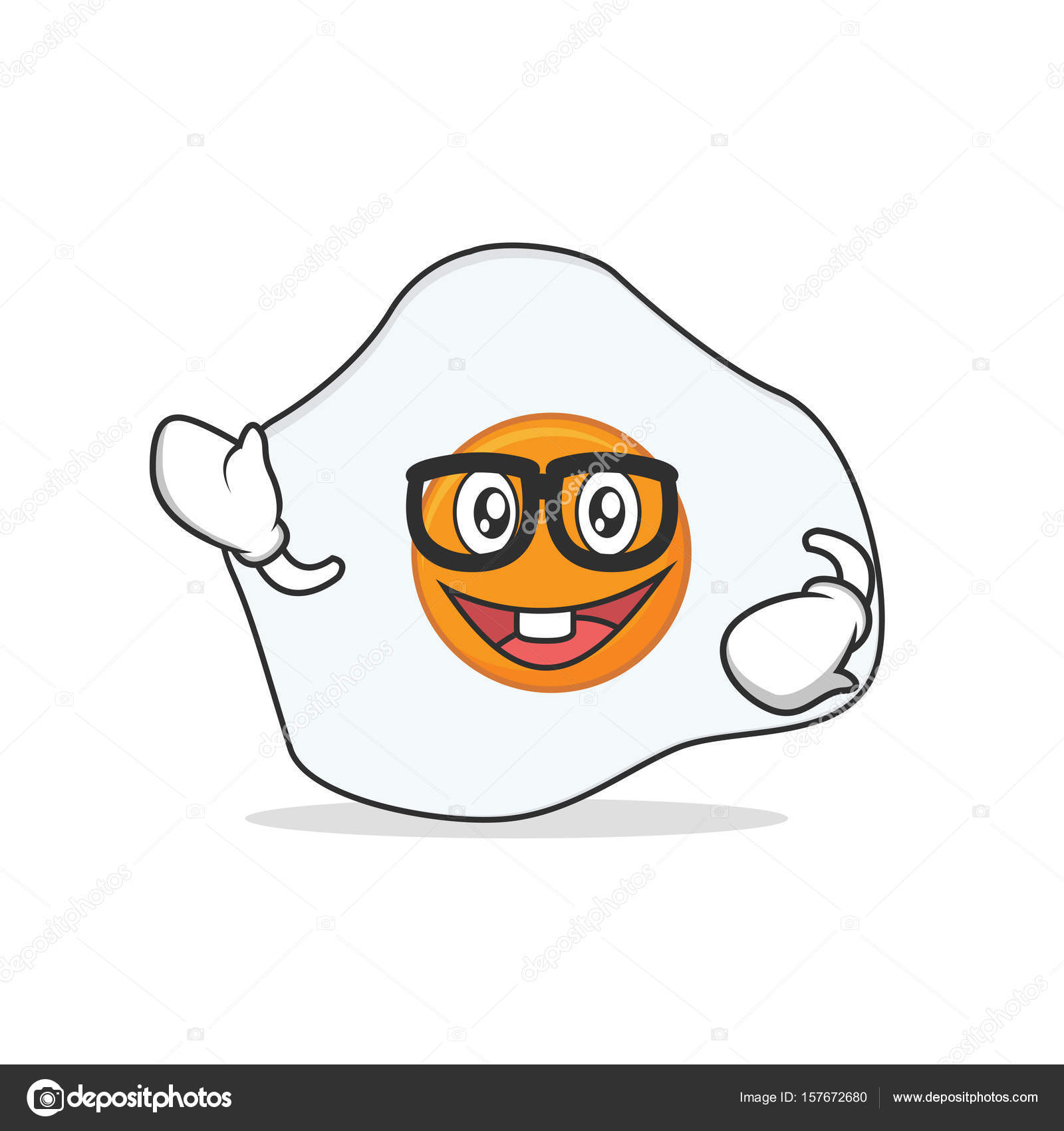 1600x1700 Geek Fried Egg Cartoon Character Stock Vector Kongvector
