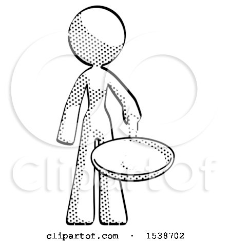 450x470 Halftone Design Mascot Woman Frying Egg In Pan Or Wok By Leo