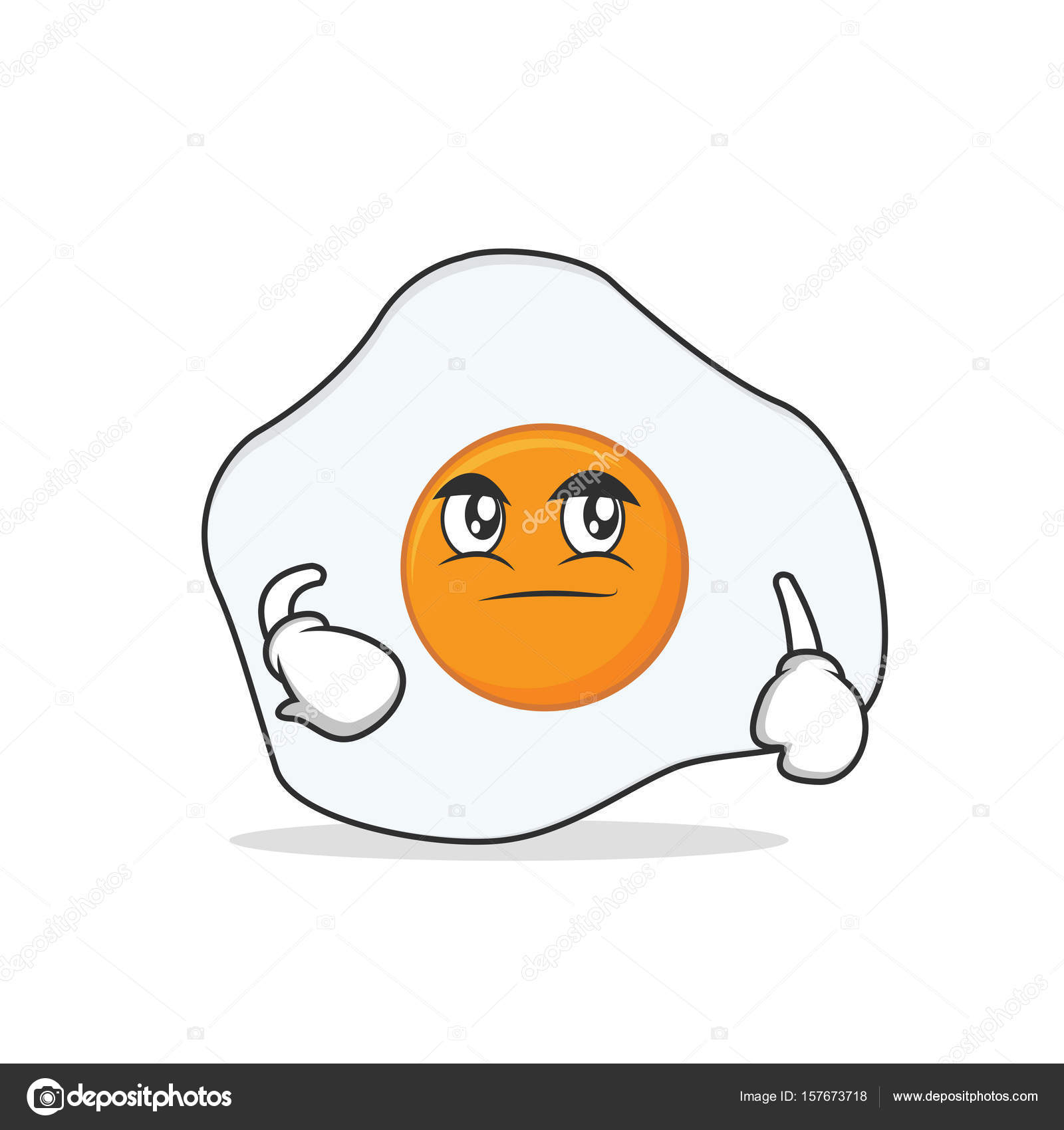 1600x1700 Smirking Fried Egg Cartoon Character Stock Vector Kongvector