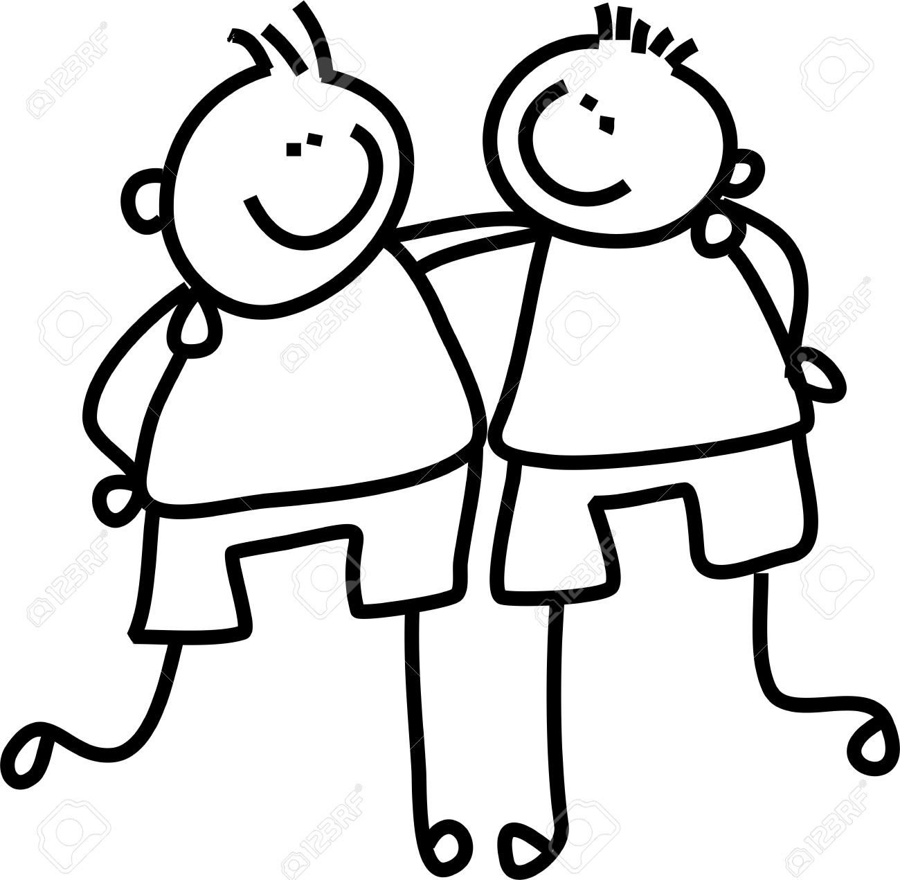 1300x1271 Line Drawing Of Two Little Boys Who Are Good Friends Stock Photo