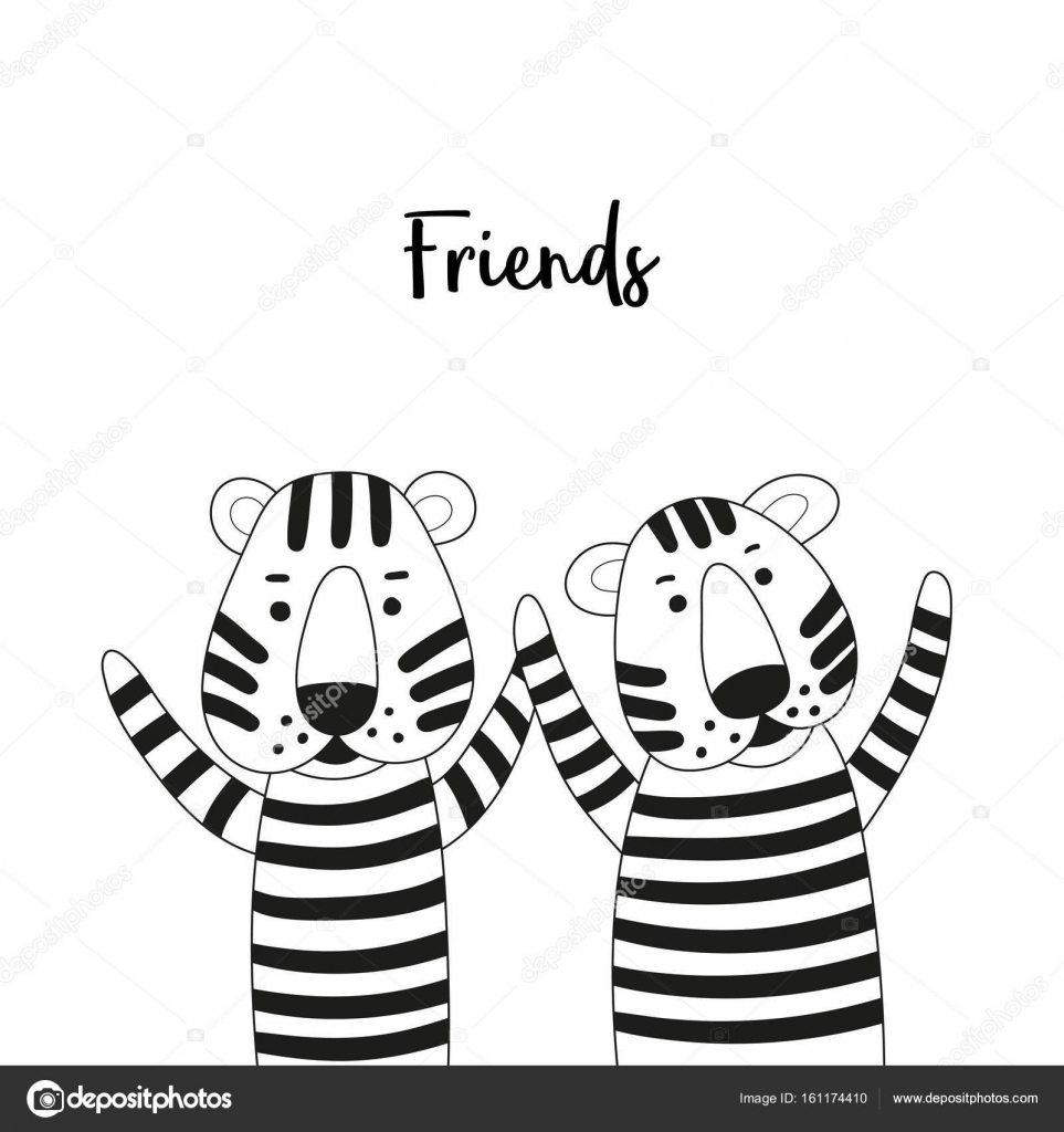 963x1024 Two Cute Cartoon Tigers Friends. Black And White Coloring Page